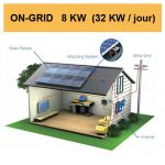 Kit solaire complet ON-GRID 8 KW (32 KW/jour)