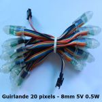 Guirlande 20 Pixels led RGB - 8mm 5V 0.5W - LEDPIX01 (Lot 50 pcs