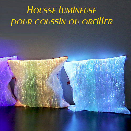 housse lumineuse multicolore pour coussin ou oreiller en fibre optique sur grossiste chinois import. Black Bedroom Furniture Sets. Home Design Ideas