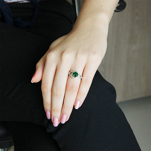 bague femme argent 925 zirconium vert pic5