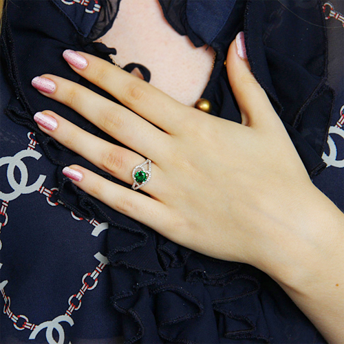 bague femme argent 925 zirconium vert pic6