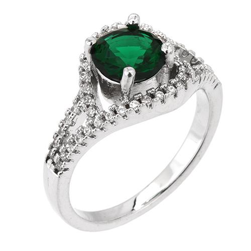 bague femme argent 925 zirconium vert