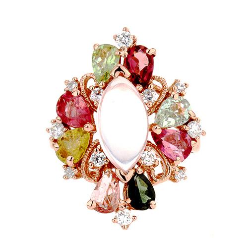 bague femme argent zirconium diamant tourmaline 8100328 pic2