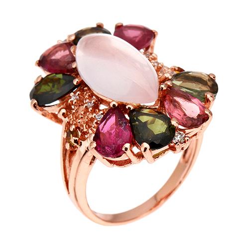 bague femme argent zirconium diamant tourmaline 8100329