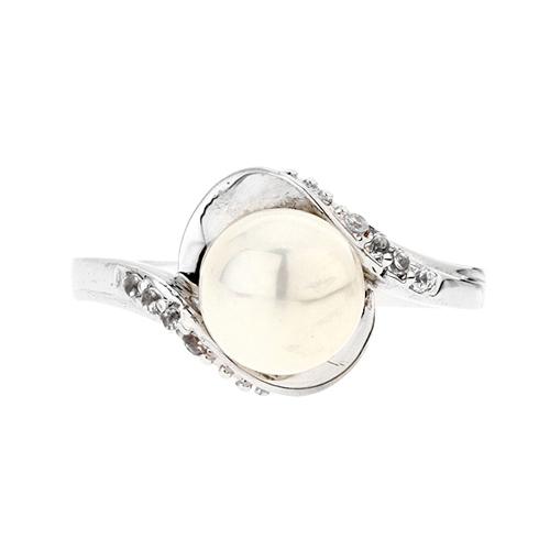 bague femme argent zirconium perle 8100379 pic2