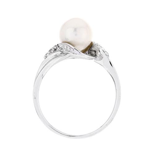 bague femme argent zirconium perle 8100379 pic3