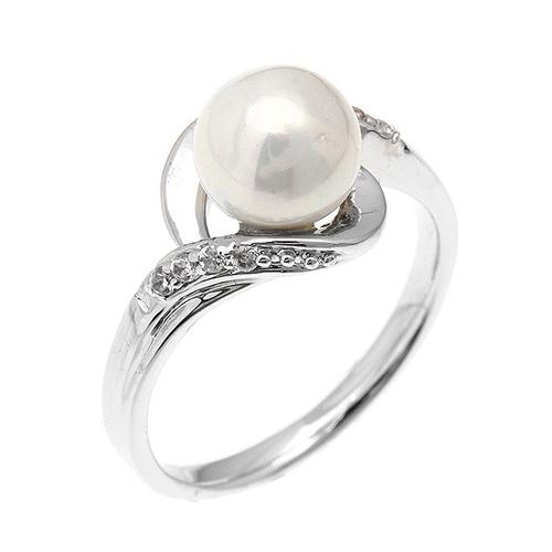 bague femme argent zirconium perle 8100379