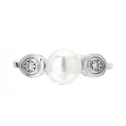 bague femme argent zirconium perle 8100496 pic2