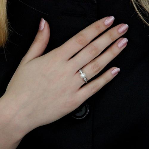 bague femme argent zirconium perle 8100496 pic6
