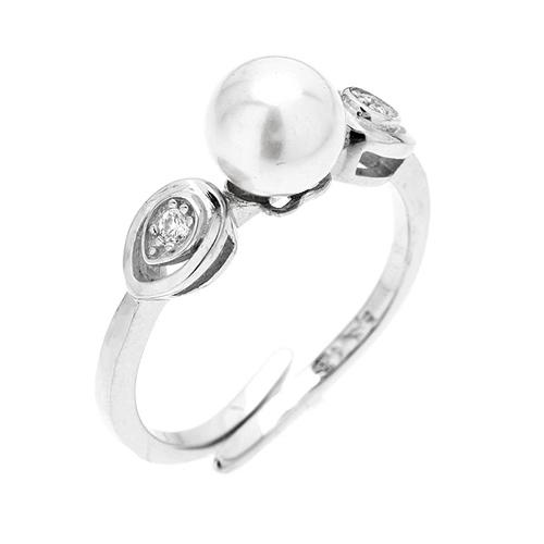 bague femme argent zirconium perle 8100496