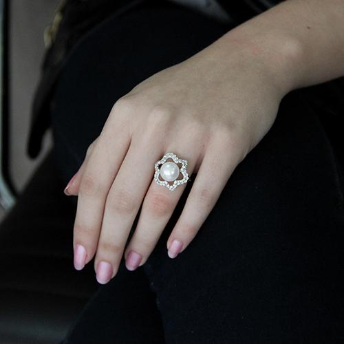 bague femme argent zirconium perle 8100553 pic5