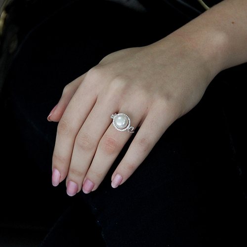 bague femme argent zirconium perle 8100554 pic5
