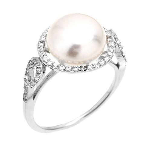 bague femme argent zirconium perle 8100554