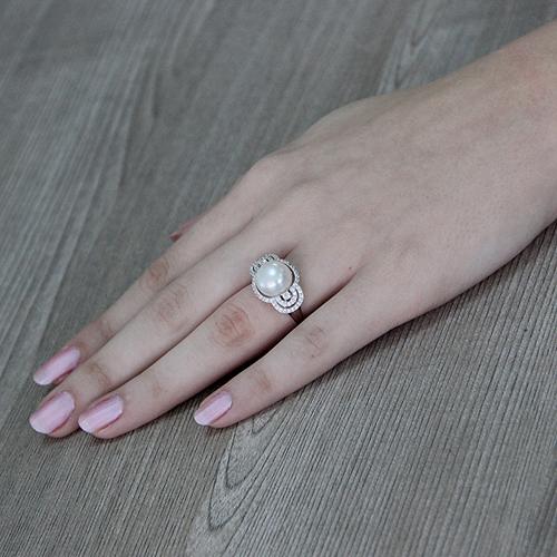 bague femme argent zirconium perle 8100555 pic6