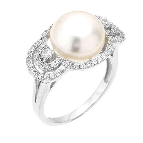bague femme argent zirconium perle 8100555