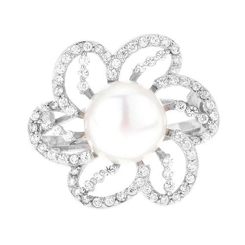 bague femme argent zirconium perle 8100556 pic2