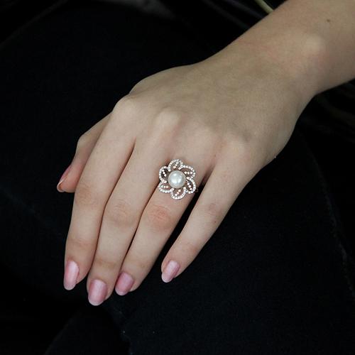 bague femme argent zirconium perle 8100556 pic5