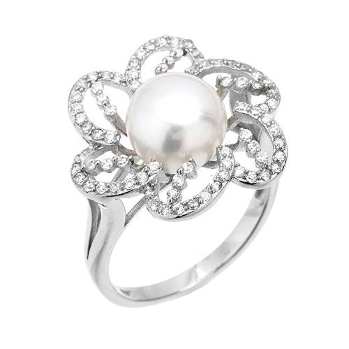 bague femme argent zirconium perle 8100556