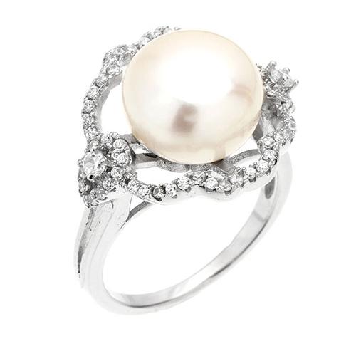 bague femme argent zirconium perle 8100557