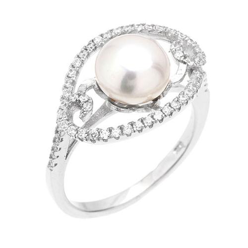 bague femme argent zirconium perle 8100558