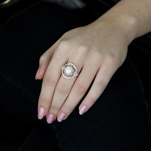 bague femme argent zirconium perle 8100559 pic5