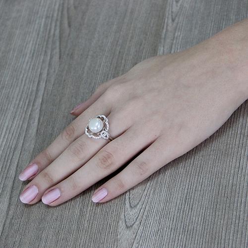 bague femme argent zirconium perle 8100559 pic6