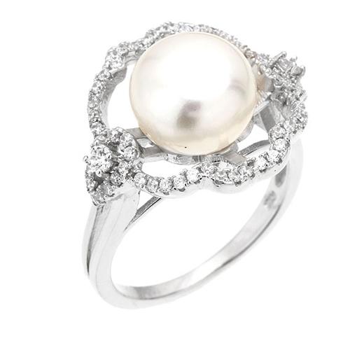 bague femme argent zirconium perle 8100559