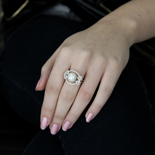 bague femme argent zirconium perle 8100560 pic5