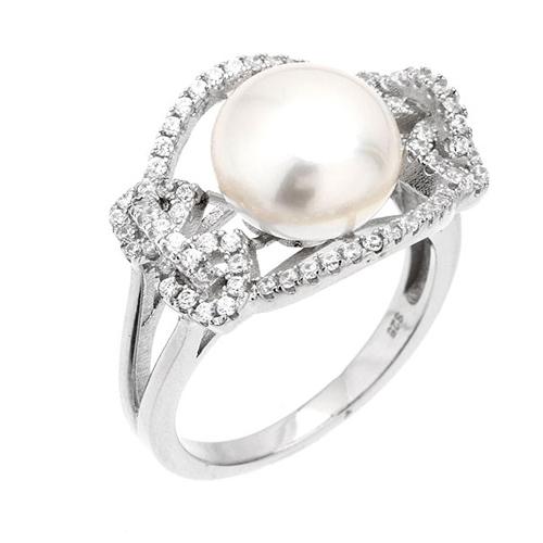 bague femme argent zirconium perle 8100560