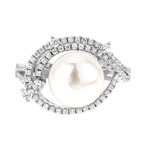 bague femme argent zirconium perle 8100561 pic2