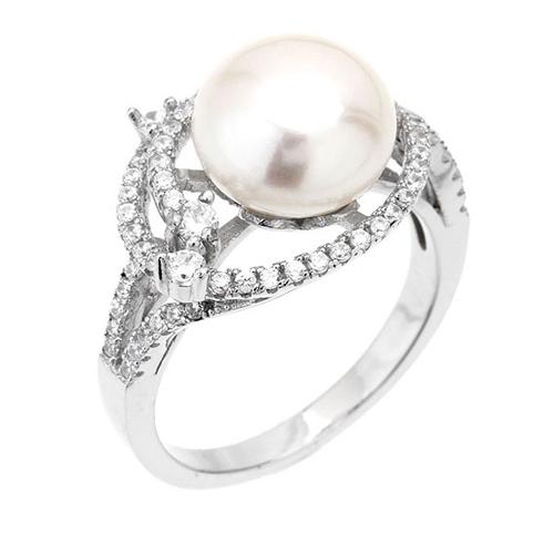 bague femme argent zirconium perle 8100561