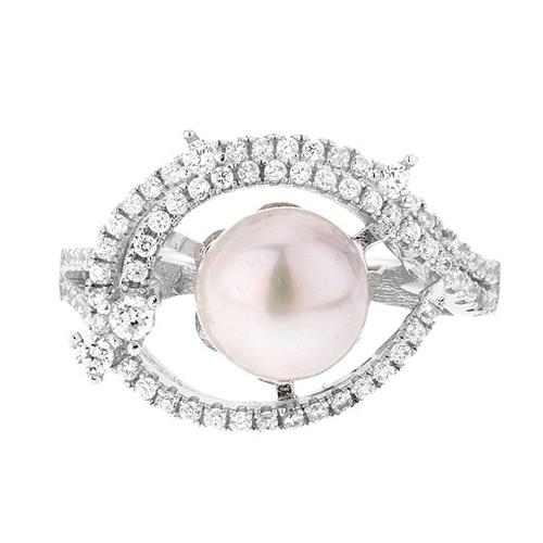 bague femme argent zirconium perle 8100562 pic2