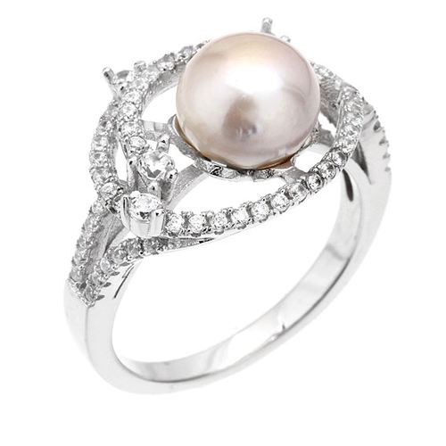 bague femme argent zirconium perle 8100562