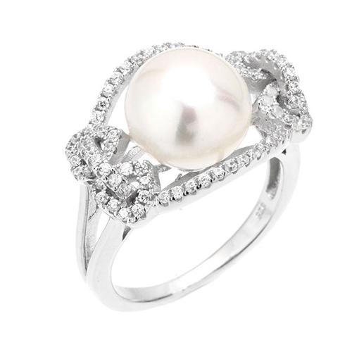 bague femme argent zirconium perle 8100564