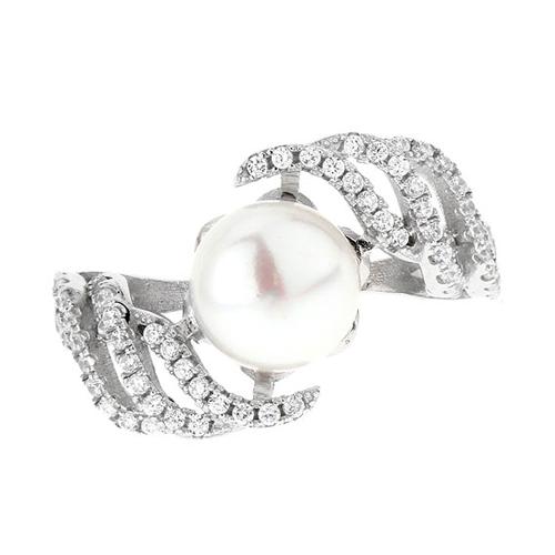 bague femme argent zirconium perle 8100565 pic2