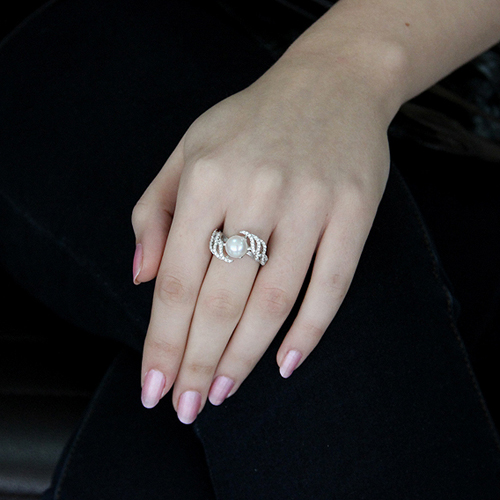 bague femme argent zirconium perle 8100565 pic5