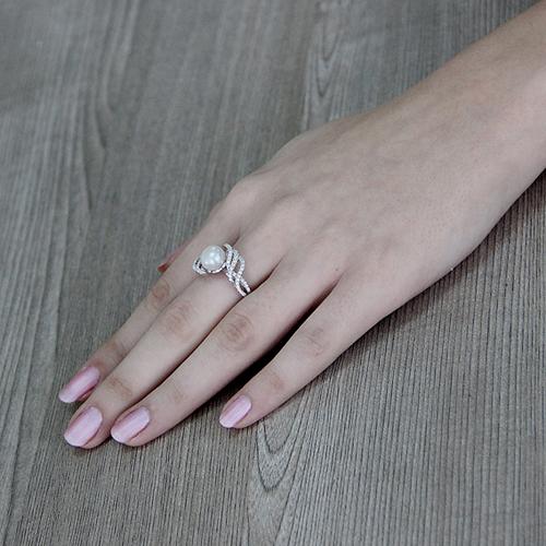bague femme argent zirconium perle 8100565 pic6
