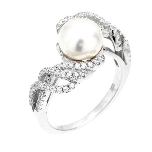 bague femme argent zirconium perle 8100565