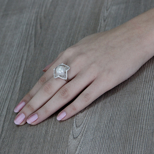 bague femme argent zirconium perle 8100566 pic6