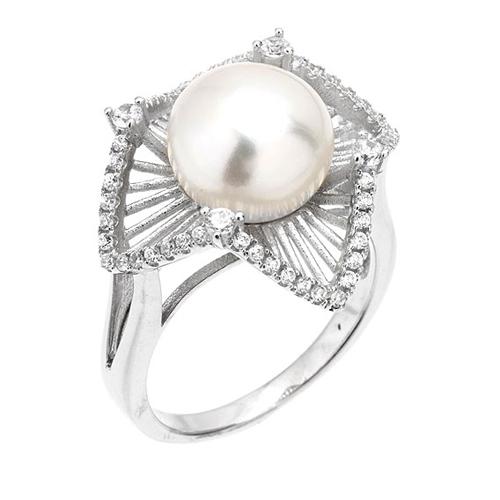 bague femme argent zirconium perle 8100566