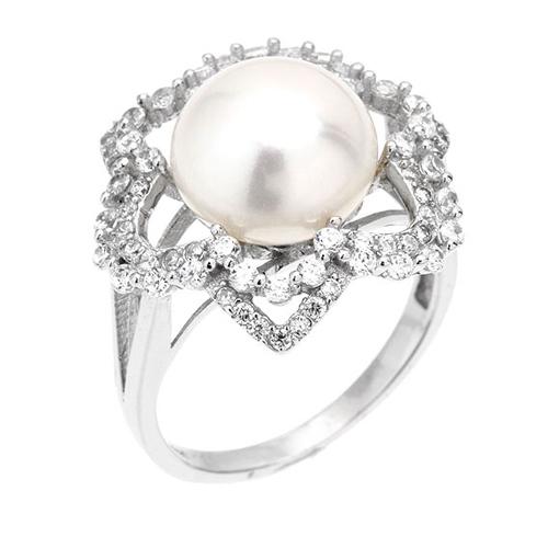 bague femme argent zirconium perle 8100567