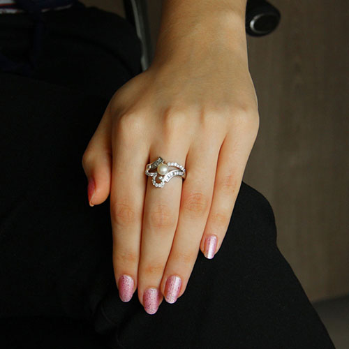 bague femme argent zirconium perle 8101193 pic5