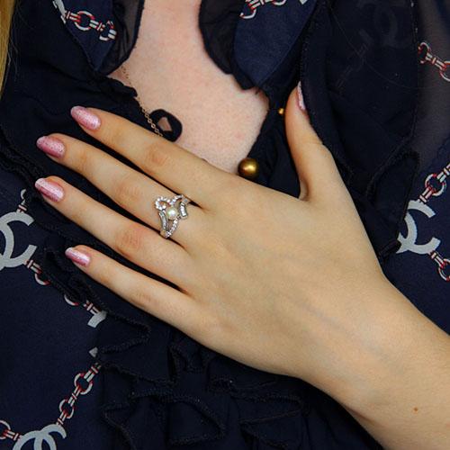 bague femme argent zirconium perle 8101193 pic6