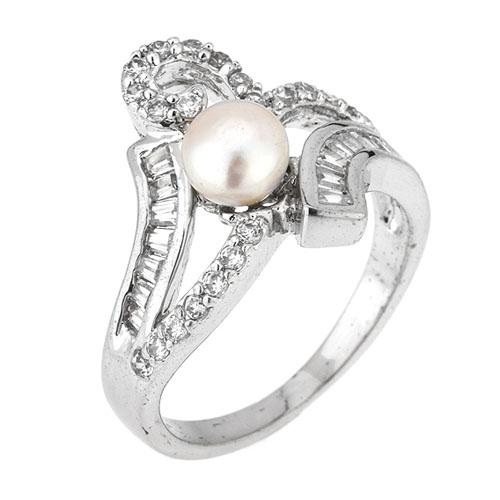 bague femme argent zirconium perle 8101193