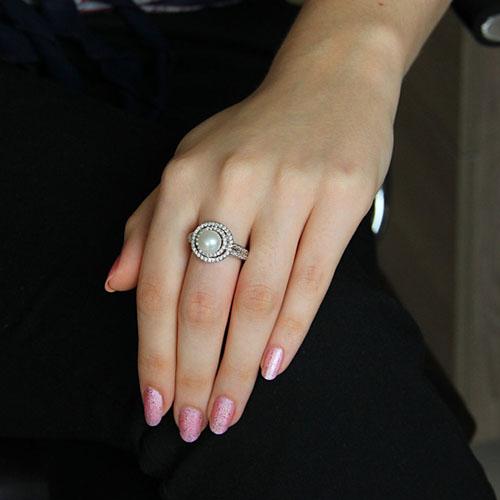 bague femme argent zirconium perle 8101198 pic5