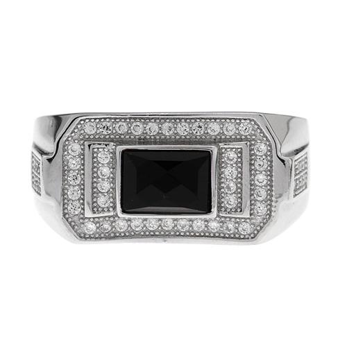 bague homme argent diamant agate 8100232 pic2