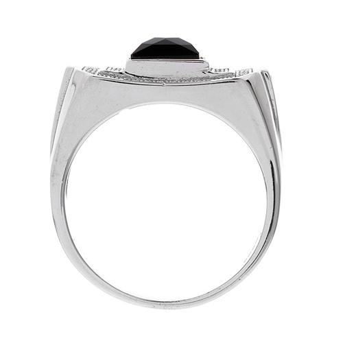 bague homme argent diamant agate 8100232 pic3
