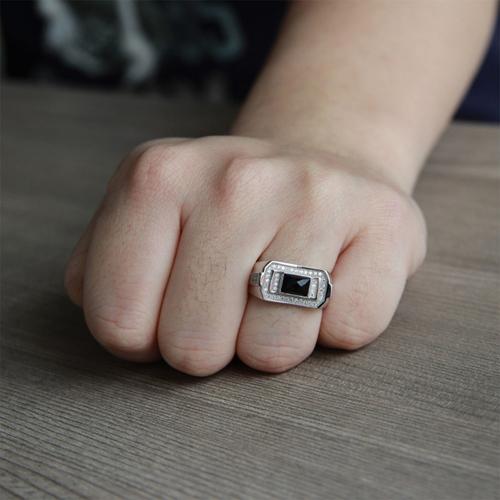 bague homme argent diamant agate 8100232 pic6