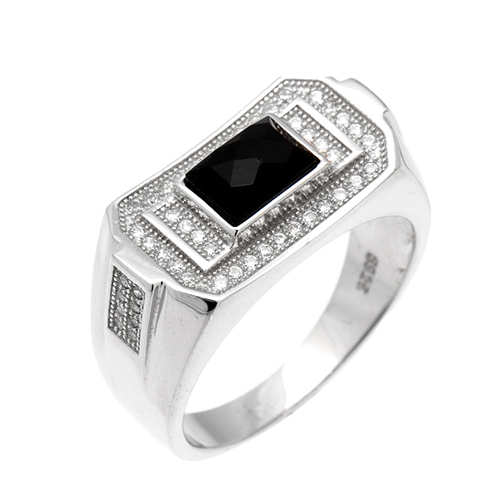 bague homme argent diamant agate 8100232
