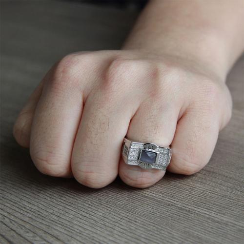 bague homme argent zirconium 8100216 pic6